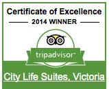 Tip Advisor Certificate Of Excellence Award City Life Suites Victoria BC